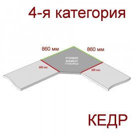 Угловая столешница КЕДР 4-я группа - Цвет: Бриллиант белый 1210/BR