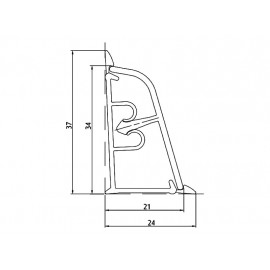 Плинтус для столешницы Korner - Цвет: Aлюминий сатина 20-37-0-450
